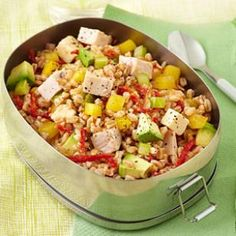Smoked Turkey & Farro Salad Recipe from EatingWell.com #myplate #vegetables #protein #wholegrain