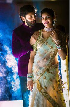 Love the bride's pastel coloured half saree and diamond jewellery. Indian Wedding Couple Photography, Wedding Couple Photos, Bridal Photography, Wedding Poses, Wedding Photoshoot, Candid Photography, Photoshoot Ideas, Wedding Stills, Bride Poses