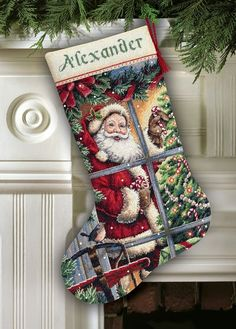 Candy Cane Santa Stocking Cross Stitch Kit | sewandso