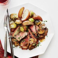Steak Diane with Crispy Garlic Potatoes and Brussels Sprouts Recipe | MyRecipes.com