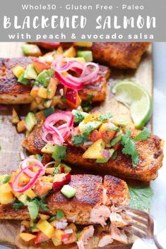 Blackened Salmon with Peach Salsa is my brand new favorite (Whole30 and Paleo!) dinner. If you love sweet and spicy, this recipe is for you. Juicy peaches and creamy avocados are tossed with spicy jalapeño, lime juice, cilantro and salt to make the best salsa of all time, and it's served served on top of super flavorful blackened pan-seared salmon. It's all the flavors of summer on a plate! #cookathomemom #whole30recipes #grilling #salmon Salmon Recipes, Seafood Recipes, Tilapia Recipes, Orange Recipes, Seafood Diet, Fish Recipes, Recipies, Paleo Dinner, Healthy Dinner Recipes