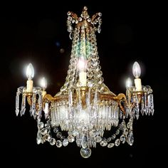 Huge 1940s French 12 Light Empire Style Wedding Cake Crystal & Bronze Chandelier #France