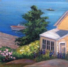 """Yellow House by the Sea  Framed"" - Original Fine Art for Sale - © Lynne Schulte"