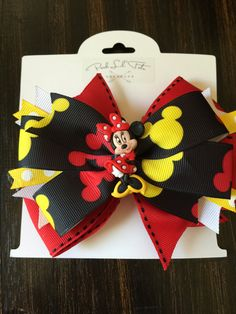 Black & Red Minnie Mouse Bow by PoshLilTots on Etsy
