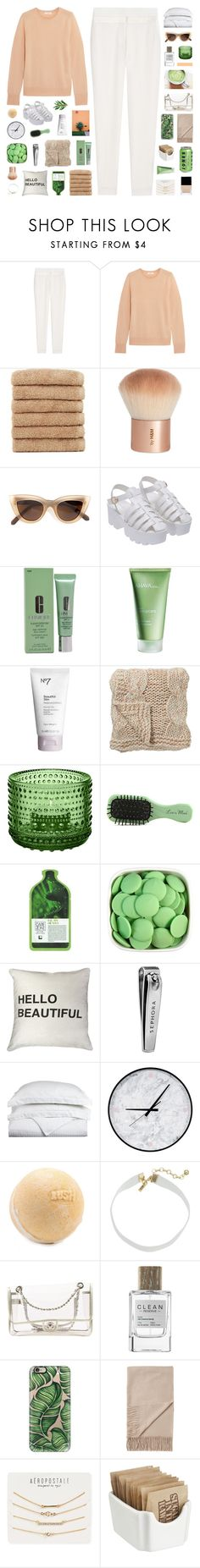 """""""all you wanna do is talk ;"""" by ughtara ❤ liked on Polyvore featuring Alexander Wang, Equipment, Linum Home Textiles, H&M, Quay, Clinique, Ahava, Boots No7, Bloomingville and iittala"""
