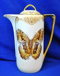 1920s BEYER BOCK PRUSSIA ROYAL RUDOLSTADT CHOCOLATE POT. Beautiful butterfly hand painted and signed by Menzel