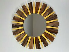 Round Wall Mirror Handmade Sunburst Wall Mirror   | eBay Wood Framed Mirror, Round Wall Mirror, Mirror Set, Round Mirrors, Sunburst Mirror, Handmade Wooden, Antique Gold, Different Colors, Ebay