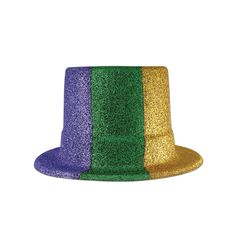 c9991dcabf5 24 Units of Glittered Mardi Gras Top Hat gold