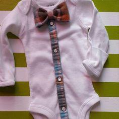 Newborn Boy ~ Onesie ~ Handsome Little Man ~ Custom Design ~ Bowtie ~ Button Down ~ - Best Baby Clothes Baby Clothes Patterns, Babies Clothes, Babies Stuff, Diy Clothes, Shower Bebe, Baby Sewing Projects, Baby Couture, Boy Onesie, New Baby Boys