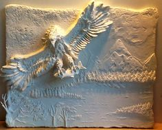 Eagle, Plaster High Relief, Wall sculpture,Sculpted Wall Panel,Sculpturesque Painting, Sculpted Walls, High Relief, Bas- Relief http://www.eliteartistrybyellie.com/