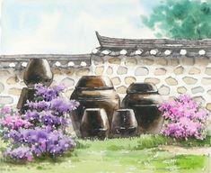 항아리들:장독대 -꽃 풍경수채화 그리기이 그림의 주요색은 opera, permanent violet, cerulean blue, sap ... Cinderella Original, Landscape Paintings, Watercolor Paintings, Realistic Drawings, Underworld, Asian Art, Countryside, Cool Art, Artist