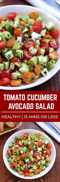 Lovely This tomato cucumber avocado salad is an easy healthy flavorful salad. Its crunchy fresh and simple to make. Its a family favorite and ready in less than 15 minutes. The post This tomato cucumber avocado salad i . Cucumber Avocado Salad, Avocado Salad Recipes, Avocado Salat, Healthy Salad Recipes, Vegetarian Recipes, Healthy Meals, Simple Salad Recipes, Cucumber Ideas, Simple Salads