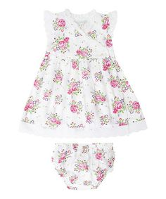 White Rose Wrap Dress & Diaper Cover - Infant #zulily #zulilyfinds