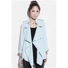 Coats - Self-tied Double-breasted Light-blue Trench Coat #Pariscoming #Paris #fallfashion #fallstyle #falltrends #fallingfor #fall #winterfashion #winterstyle #wintertrends #winterfor #winter #cardi #clothing #inspirational #fashionable #ontrend #stylist #Styling #StreetStyleSeason #streetstyle #fashionblog #fashiondiaries #fashiondiary #WearIt #WhatYouWear If you like,follow me back and find it on our online store.