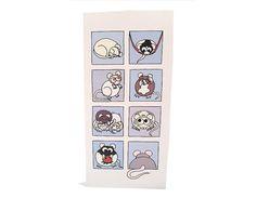 Cartoon Rat Card blues blank inside 8 boxes by konyskiw on Etsy