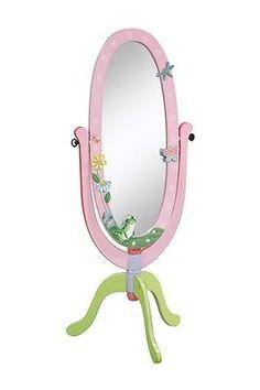 Kids Girls Magic Garden Standing Cheval Dress Up Mirror Pink Green Flower Frog