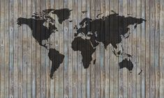 World Map Wooden Plank - Old Silver - Fototapeter & Tapeter - Photowall
