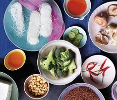 """Fast, Healthy, Fresh Asian Recipes: Packed with bright herbs, lean protein and vibrant flavors, Asian food is one of the healthiest ways to eat. San Francisco chef Kathy Fang cooked up these recipes for us. """"The aromatic ingredients I use in my recipes, like ginger, chiles and soy, can make your food pop in just a few steps,"""" she says. #SELFmagazine"""