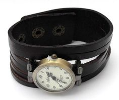 Womens Black Antique Retro Bronze Stud Strap Punk Goth Leather Cuff Bracelet Wrist Watch: Amazon.co.uk: Watches