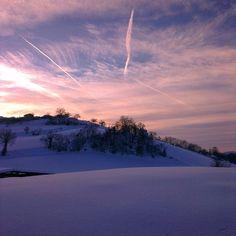Tramonto sulla neve, Appennino Reggiano - Instagram by gionnina