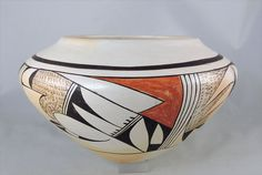 Hand built with native clay, stone burnished, painted with organics and pit fired.