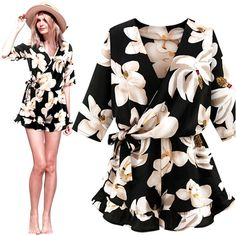 dd4861cf5353 2017 Summer Casula Fashion Women Floral Chiffon Playsuit Jumpsuit Romper  XXXL XXL Amazing-in Rompers from Women s Clothing   Accessories on  Aliexpress.com ...