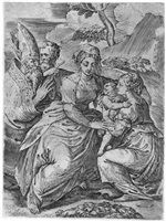 Madonna mit Kind und Heiligen (after Parmigianino) von Battista Angolo del Moro