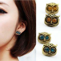 ES230 Bijoux  Antique Gold Big Eye Owl Stud Earrings Fashion Jewelry Brincos Crystal Earing  2016 pendientes mujer HOT Selling