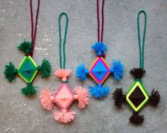 "Made by a Huichol couple near San Miguel, Mexico.The making of God's eyes, or Ojo de Dios, is an ancient contemplative and spiritual practice for many indigenous peoples in the Americas.  Traditionally created for celebration or blessing, presented as a gift or designed to bless a home.approx. 4""x4""$10 each"