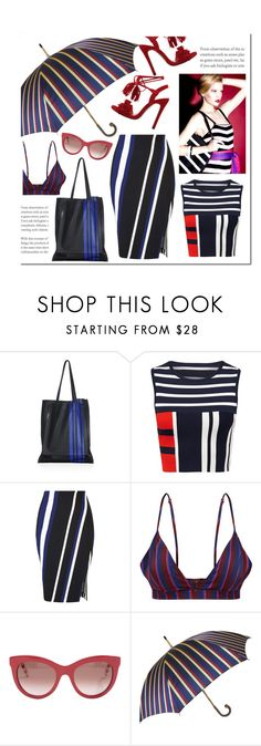 """""""Stripes and Stripes"""" by hellodollface ❤ liked on Polyvore featuring 3.1 Phillip Lim, Miss Selfridge, Tommy Hilfiger, Pasotti Ombrelli, stripesonstripes and PatternChallenge"""