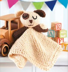 12-inch square blanket with the stuffed animal head and arms (or wings) attached at the center. Price From: $7.99 #knitting