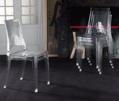 Chaise de salle à manger empilable design en polycarbonate transparent SUNRISE, Chaise de salle à