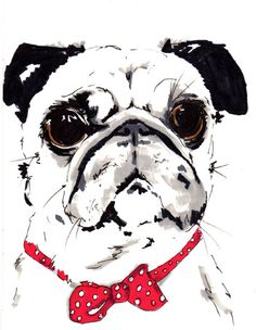 .Love this sketch of a pug with bow tie and the BIG eyes.