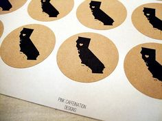 Personalized US State Love Round Stickers California CA San Francisco Los Angeles$40.00, via Etsy.