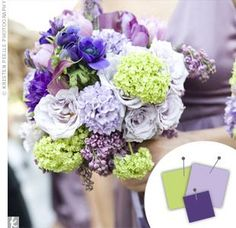 Go royal with your wedding color palette. Here are some of the prettiest purple wedding color combos to inspire your wedding decor. Purple Bouquets, Lavender Bouquet, Wedding Bouquets, Wedding Flowers, Hydrangea Bouquet, Bridesmaid Bouquets, Boquet, Lavender Roses, Bridesmaid Ideas