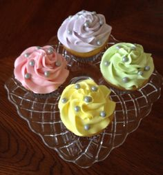Spring pastel buttercream on vanilla cupcakes - photo only
