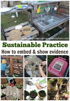 Sustainable Practice in early years services - how educators can embed and show evidence of practice in early childhood services. Helpful information for early Childhood Sustainability Education, Sustainability Projects, Environmental Education, Play Based Learning, Project Based Learning, Early Learning, Service Learning, Blended Learning, Learning Centers