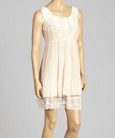 Another great find on #zulily! Blush Beaded Silk-Blend Empire-Waist Dress by Pretty Angel #zulilyfinds