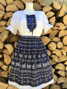 Folklórny dámsky kroj Čičmany tmavý / myM.I.a - SAShE.sk Lace Skirt, Folk, Skirts, Clothes, Fashion, Outfits, Moda, Clothing, Kleding