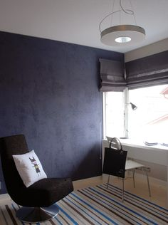 Purple inspires creativity and is perfect for offices. This wall was coated in #Tikkurila Tunto textured finish