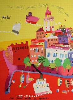 Fantastic piece of art, love this vision of Korcula. Artist:Vjekoslav Vojo Radoicic, Korcula