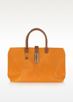 3736172ace La Bagagerie Shopping N - Orange Fabric and Leather Tote