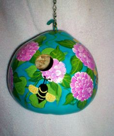 Bees, Dahlias, Cabbage Roses on Teal Blue Painted Gourd Birdhouse Spring Garden