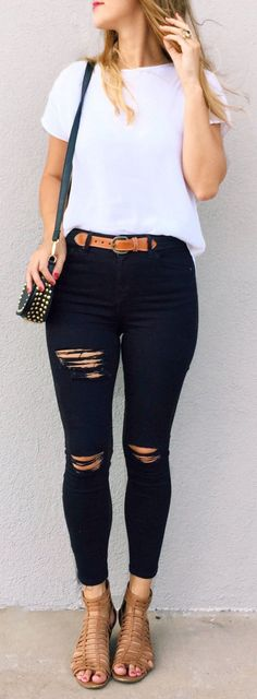 #spring #outfits  White Tee & Black Ripped Skinny Jeans