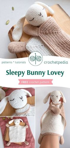 Sleepy Bunny Lovey - Free Crochet Pattern - Crochetpedia Are you ready for the cutest amigurumi lovey? You can find FREE written pattern and photos from the process on our website. Crochet Baby Toys, Crochet Patterns Amigurumi, Baby Blanket Crochet, Crochet For Kids, Crochet Dolls, Crochet Stitches, Bunny Blanket, Snuggle Blanket, Lovey Blanket