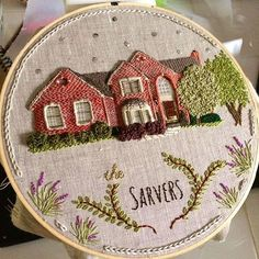 Well I need to tidy up some of the stitches but for the most part done! #houseportrait #hoopart #brickhouse