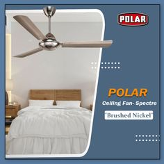 Polar Spectre Ceiling Fan with elegantly contour blade, long lasting and durable finish with greater reliability. #Polar #Fan #CeilingFan #SpectreCeilingFan #PremiumCeilingFan Fan Brush, Brushed Nickel, Ceiling Fan, Contour, Blade, It Is Finished, Home Decor, Contouring, Ceiling Fans