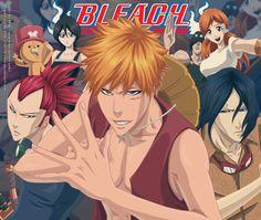 Kon, Rukia, Renji, Ichigo, Chad, Uryu, and Orihime One Piece Bleach Crossover