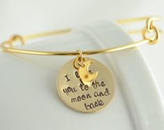 Personalized Bangle bracelet, I love you to the moon and back, charm bracelet, womens jewelry, Alex and Ani inspired