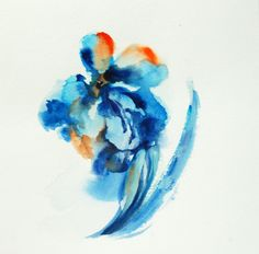 Original Watercolor Painting, Abstract Flower, Turquoise Orange Floral Modern Art by CanotStop on Etsy